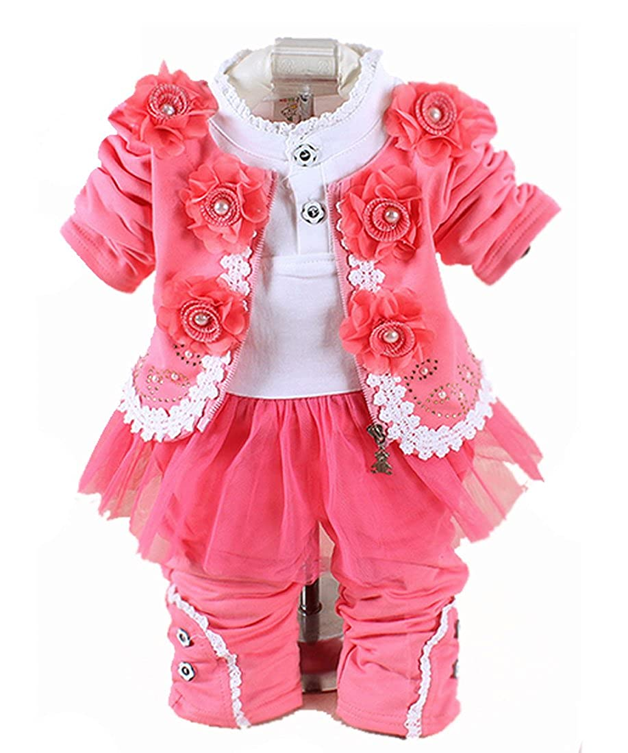 1f9e4e999 Amazon.com  SOPO Baby Girl Outfits Cute Flower Jacket Lace Top and ...