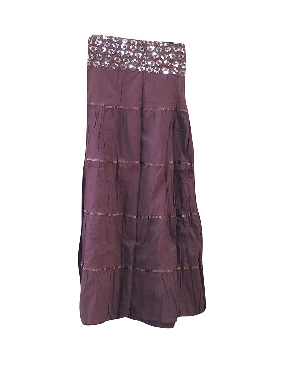Mogul Interior Long Skirt Purple Sequin Boho Peasant Skirts. Gift For Her S