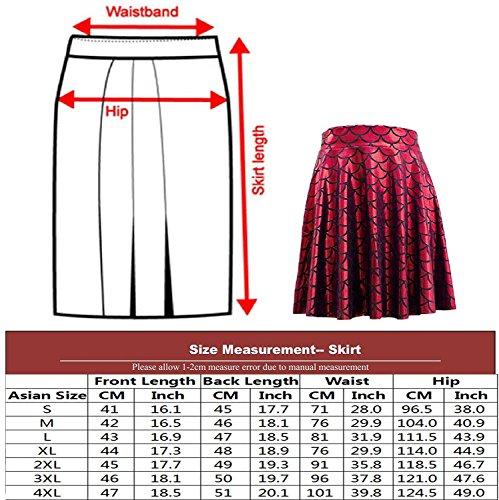 Color Femmes cailles Poisson Jupes Mermaid Pliss Filles Scales Skater Jupe S 4XL Jupes Imprimer de Swing wfpZrqfTc