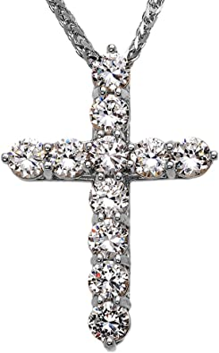 925 Sterling Silver Polished Cubic Zirconia Cross Shaped Pendant