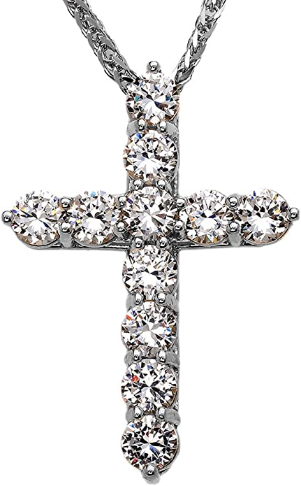 Extra Large CZ Accent Black and Stainless Steel Cross Pendant 24 in Wheat Chain