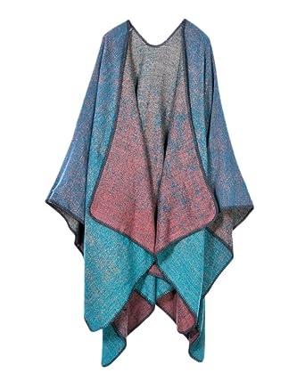 Qitun Cape Poncho Femme Tricot Carreaux Tartan Style Extra Large écharpe  Châle Hiver Boue Bleu e12c334272a5