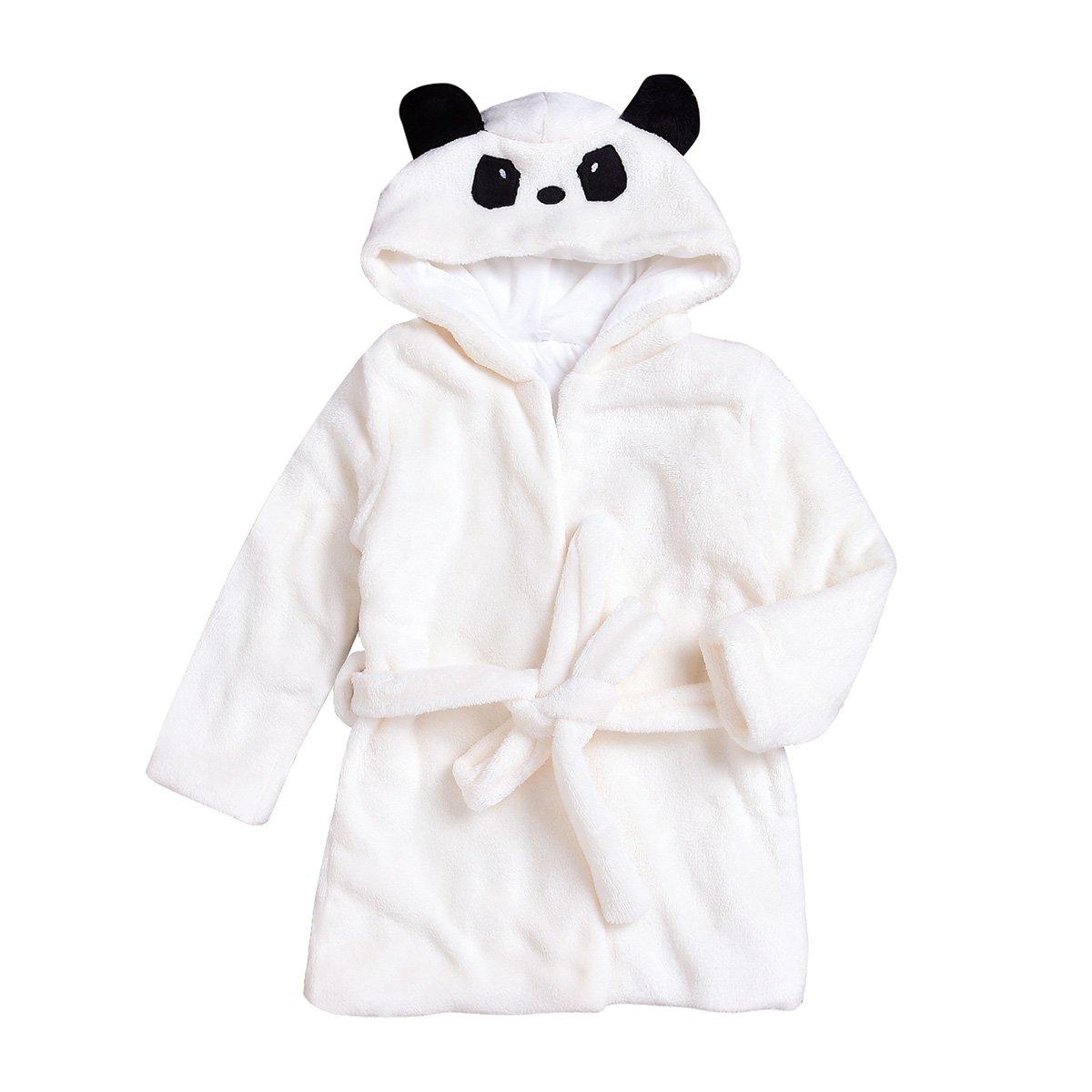 puseky Toddler Kid Boys Girls Cute Panda Hooded Bathrobe Sleepwear Dressing Gown (White, 3T-4T)