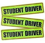 #6: Advgears 3 Pcs Student Driver Magnet Stickers Signs Car Vehicle Reflective Sign Bumper Sticker for New Driver