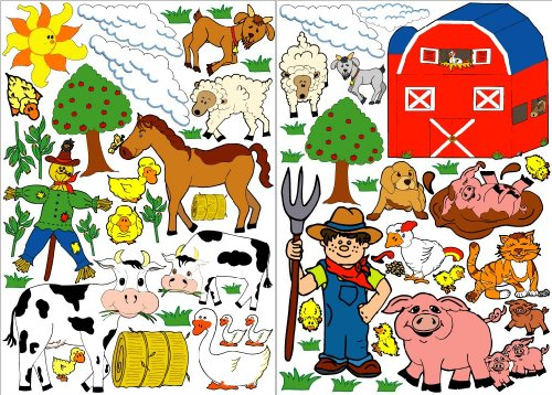 Farm Animals Wall Stickers / Farm Animal Wall Decals with...