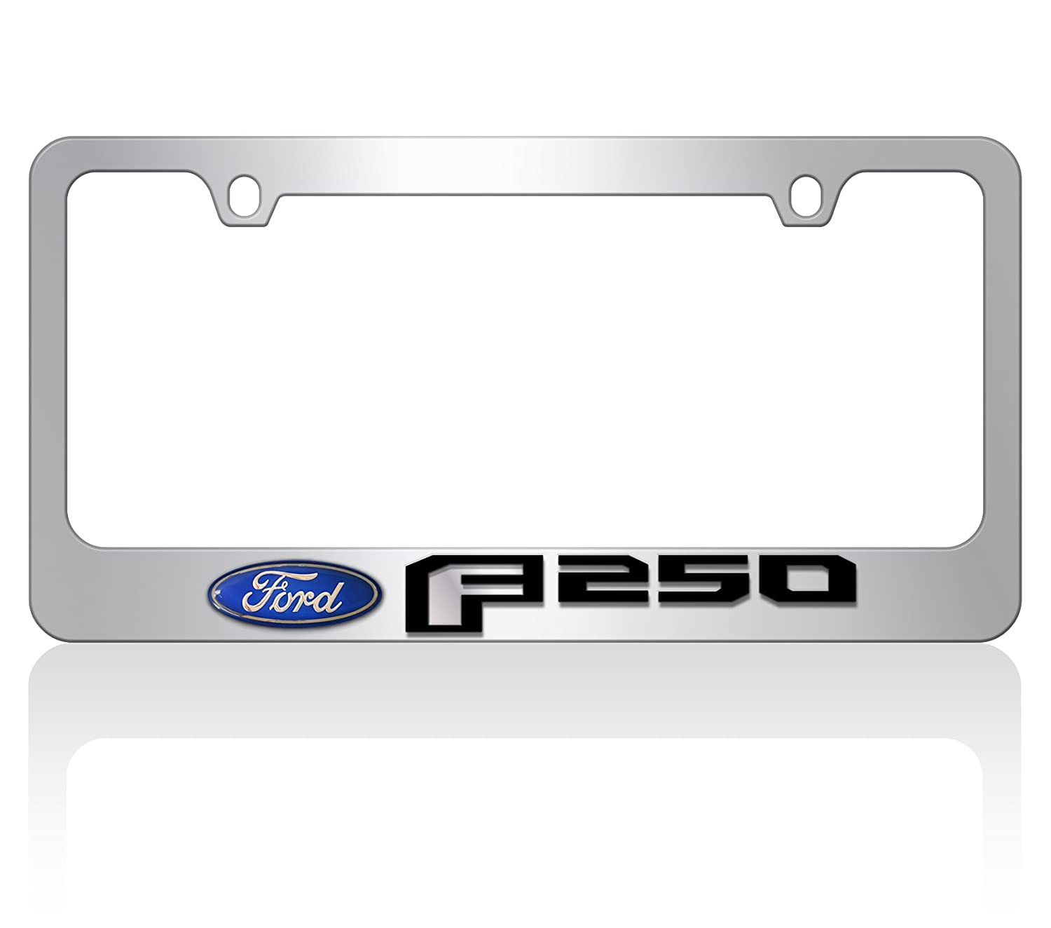 Domed Ford Oval Mirror F -Chrome License Plate Frame 2015 Ford F-250 Black Word Eurosport Daytona- Compatible with -