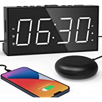 "Loud Alarm Clock for Heavy Sleepers Dual Digital Clock with Bed Shaker Adjustable Volume & Brightness 7.5"" Large LED…"