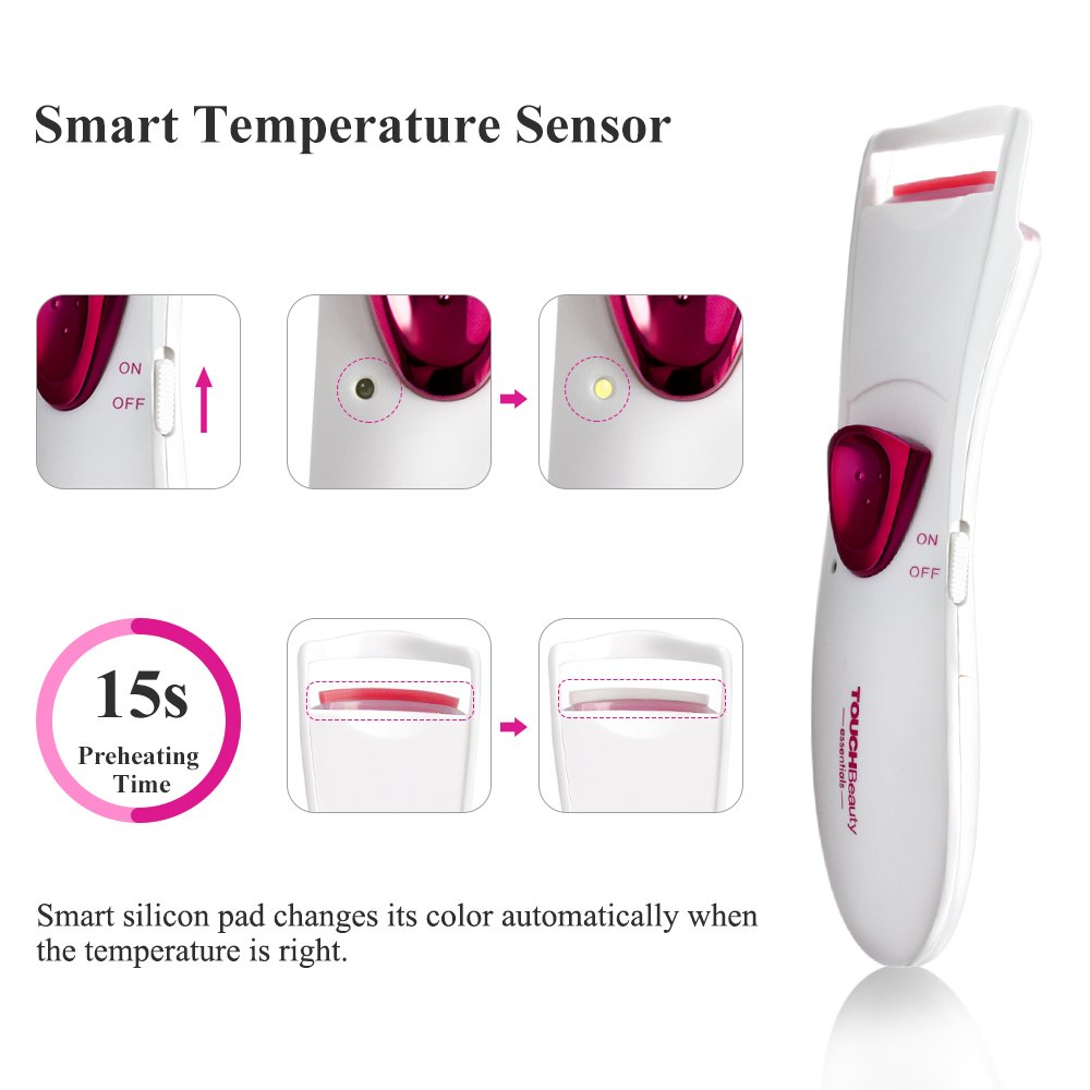 TOUCHBeauty Heated Eyelash Curler with Double Silicone Pad,Long-lasting Eyelash Curls Pink TB-2016