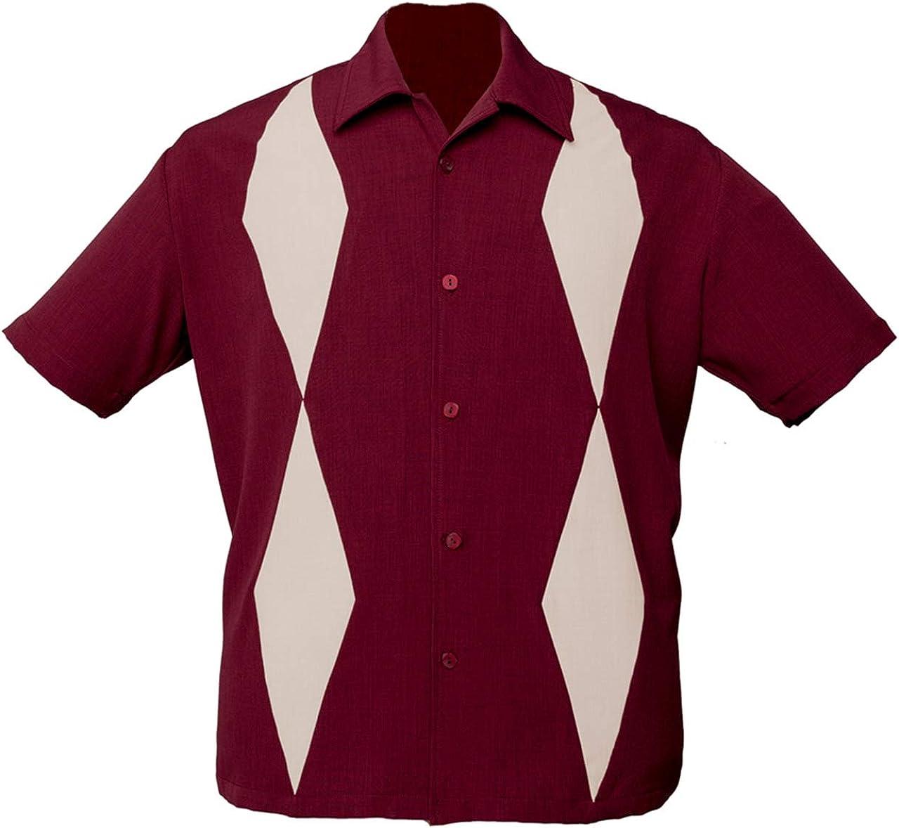 STEADY CLOTHING Diamond Duo - Camisa de Bolos, Color Granate