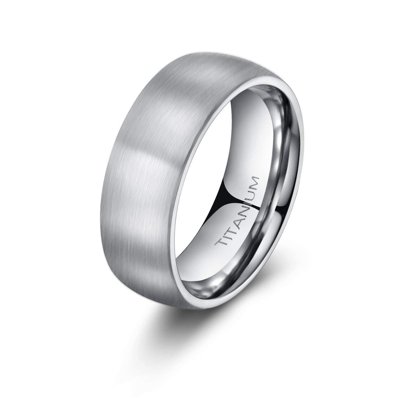 8mm Unisex Titanium Ring Brushed Dome Wedding Bands Comfort Fit Size 4-15 (9.5)