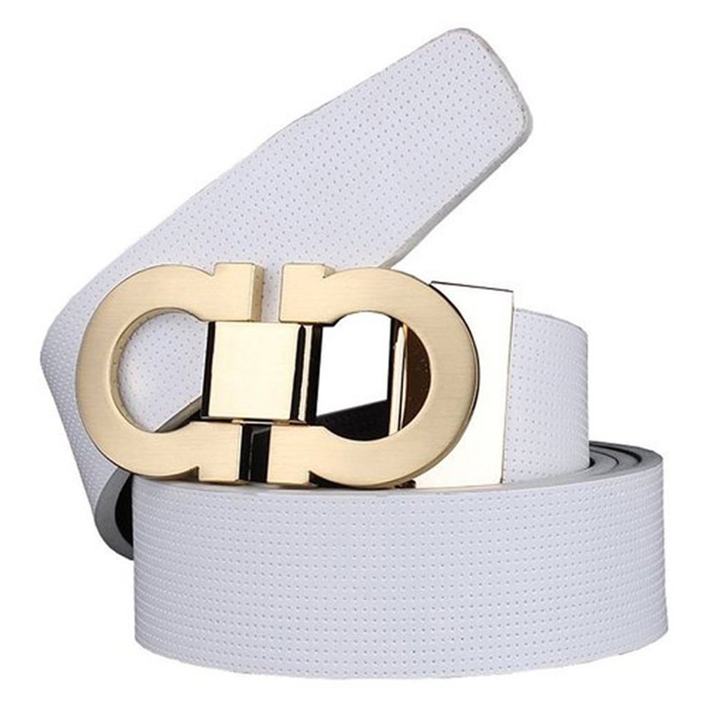 Men's Smooth Leather Buckle Belt 35mm Leather up to 42inch (105-115cm for Choose) ALEX108