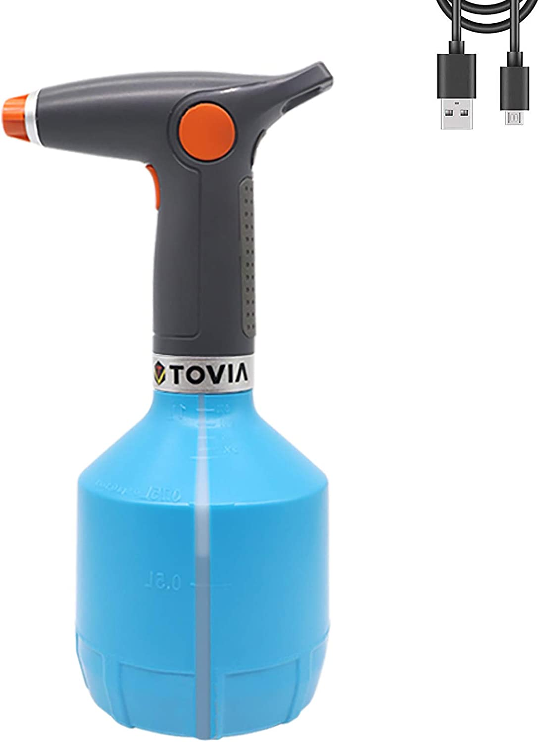 T TOVIA Automatic Electric Garden Sprayer 1L, Battery Powered USB Rechargeable Fine Mist to Stream Spray Bottle with Adjustable Flow Tip for Gardening, Fertilizing, Household Cleaning (Blue)