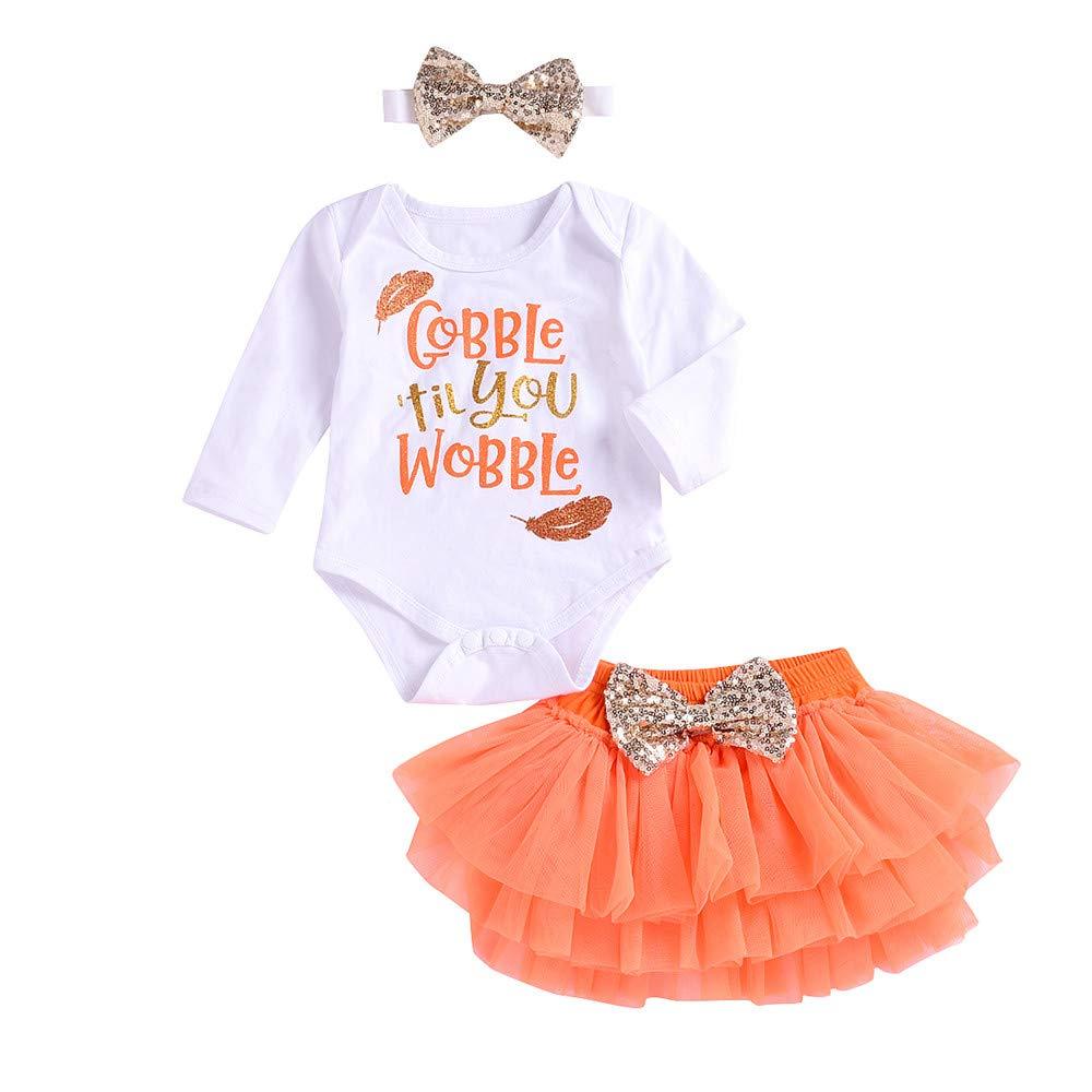Hatoys Christmas Newborn Infant Baby Girl Letter Romper Tops+Tutu Skirts Thankgiving Outfits Set