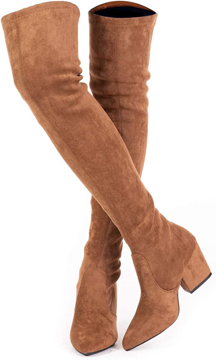 Women Block Heels Knee High Thigh Boots Pointy Toe Stitching Colors Casual Shoes