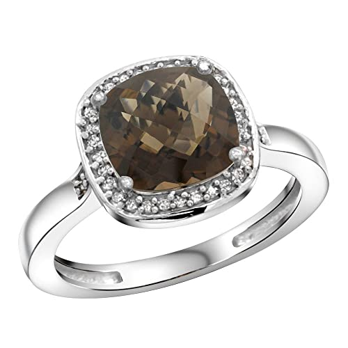 Sterling Silver Diamond Natural Smoky Topaz Ring Cushion-cut 8x8mm, 1 2 inch wide, sizes 5-10