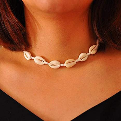 Asooll Sea Shell Choker Necklace Beach Knitted Shell Necklace Chain Braided Jewelry For Women And Girls (Beige) by Asooll