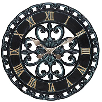 Lilys Home Hanging Verdigris Wall Clock and Dial Thermometer Set, Ideal for Indoor and Outdoor Use, Makes a Great Housewarming Gift, Black (13 Inches)