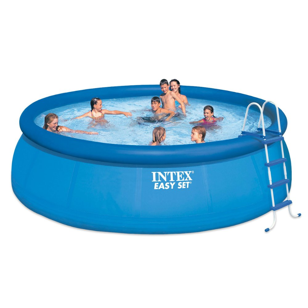 Image result for Intex 18ft X 48in Easy Set Pool Set with Filter Pump, Ladder, Ground Cloth & Pool Cover