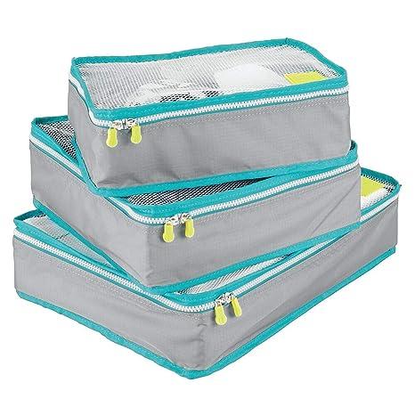 mDesign Juego de 3 cajas de almacenamiento con cremallera ...