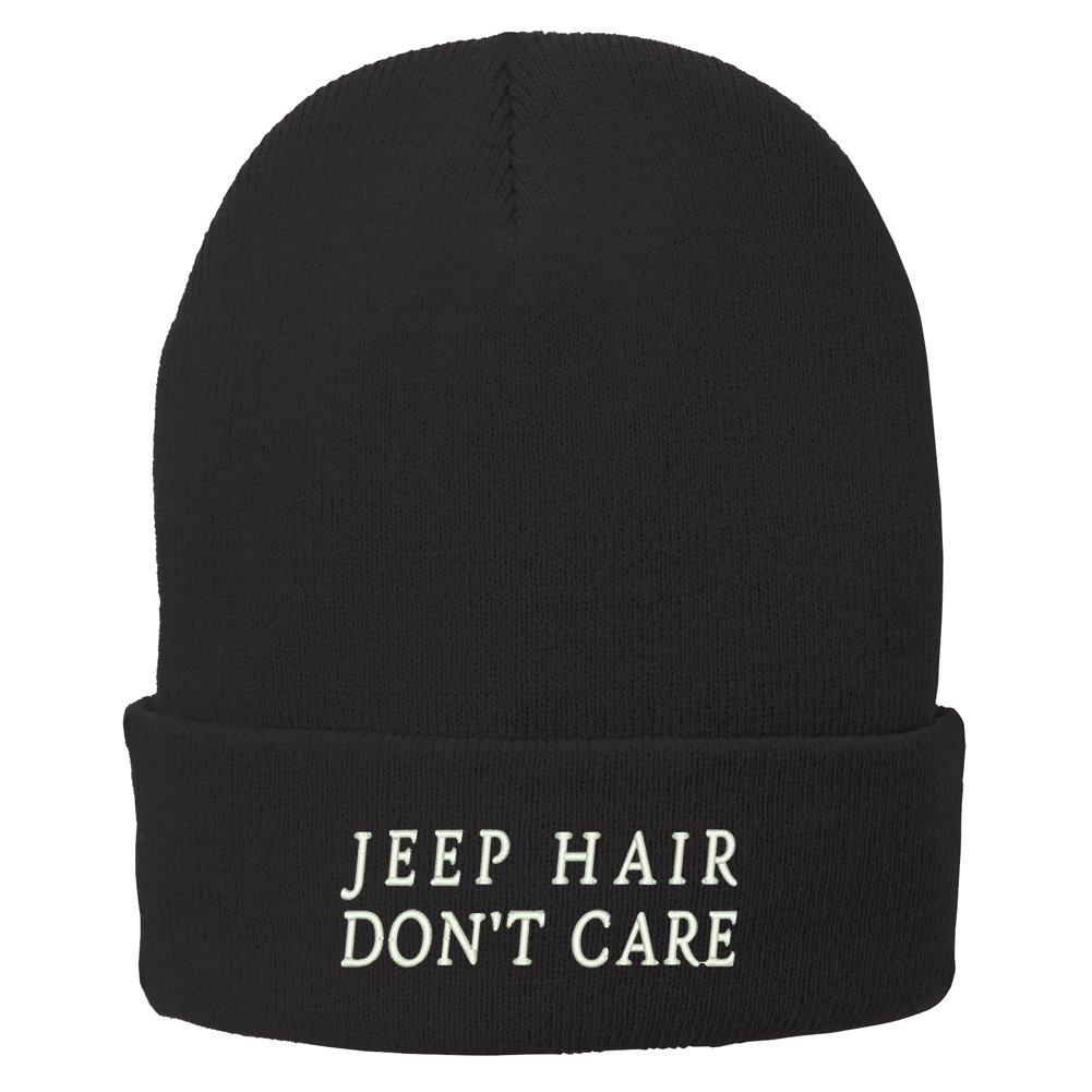 Trendy Apparel Shop Jeep Hair Don't Care Embroidered Winter Knitted Long Beanie - Black