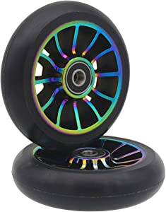 aibiku Pro Stunt Scooter Wheel 100mm Replacement Wheels - Bearings ABEC 11 Installed - 2PCS