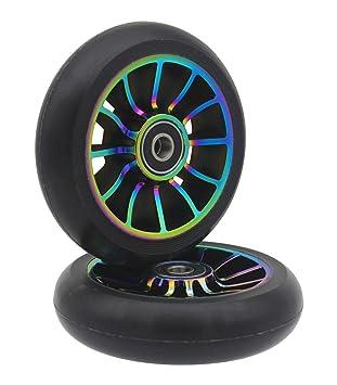 2 ruedas de repuesto profesionales de 100 mm, con rodamientos ABEC 9, para scooter MGP/Razor/Lucky Pro., colorful: Amazon.es: Deportes y aire libre