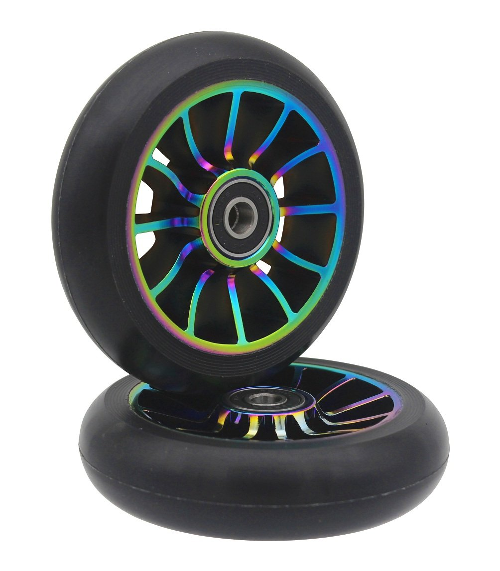 aibiku Pro Stunt Scooter Wheel 100mm Replacement Wheels with ABEC-9 Bearing-2 PCS(A-Colorful/Black)