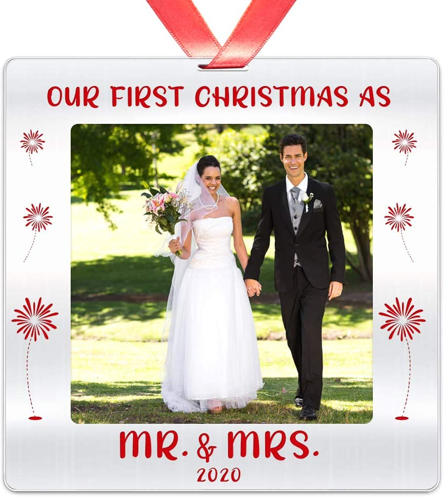 Elegant Chef Our First Christmas as Mr & Mrs 2020 Year Dated Christmas Photo Ornament- Just Married Couples Decoration for Xmas- 3 inch Stainless Steel Picture Ornament Keepsake Gift for Newlyweds