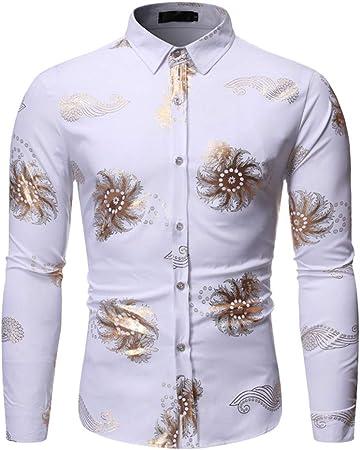 LISILI Camisas De Hombre Diseño Oro Patrón De Vórtice Impreso Ajustado Manga Larga Abotonar Camisa De Vestir/Camisas De Baile De Graduación,Blanco,S: Amazon.es: Hogar