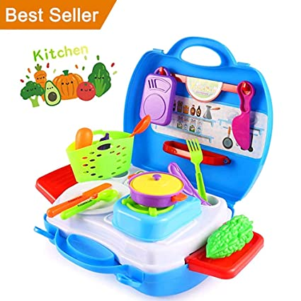 Amazon Com Kitchen Playset Halofun Play Food Kitchen Set For