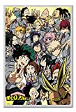 My Hero Academia School Compilation Poster Magnetic Notice Board Silver Framed - 96.5 x 66 cms (Approx 38 x 26 inches)