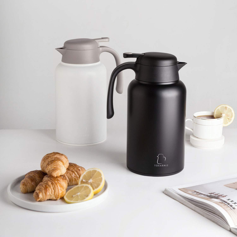 dispensador de caf/é 2 litros 68 oz Blanco 2L US retenci/ón de calor 24 horas de laboratorio Jarra t/érmica de acero inoxidable para caf/é Toearnit agua y bebidas resistente