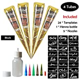 COKOHAPPY Temporary Tattoo Kit, 4 Tube Black Paste Cone Indian Body Art Painting Drawing with 24 x adhesive Stencil, 1 x Applicator Bottle and 5 x Plastic Nozzle