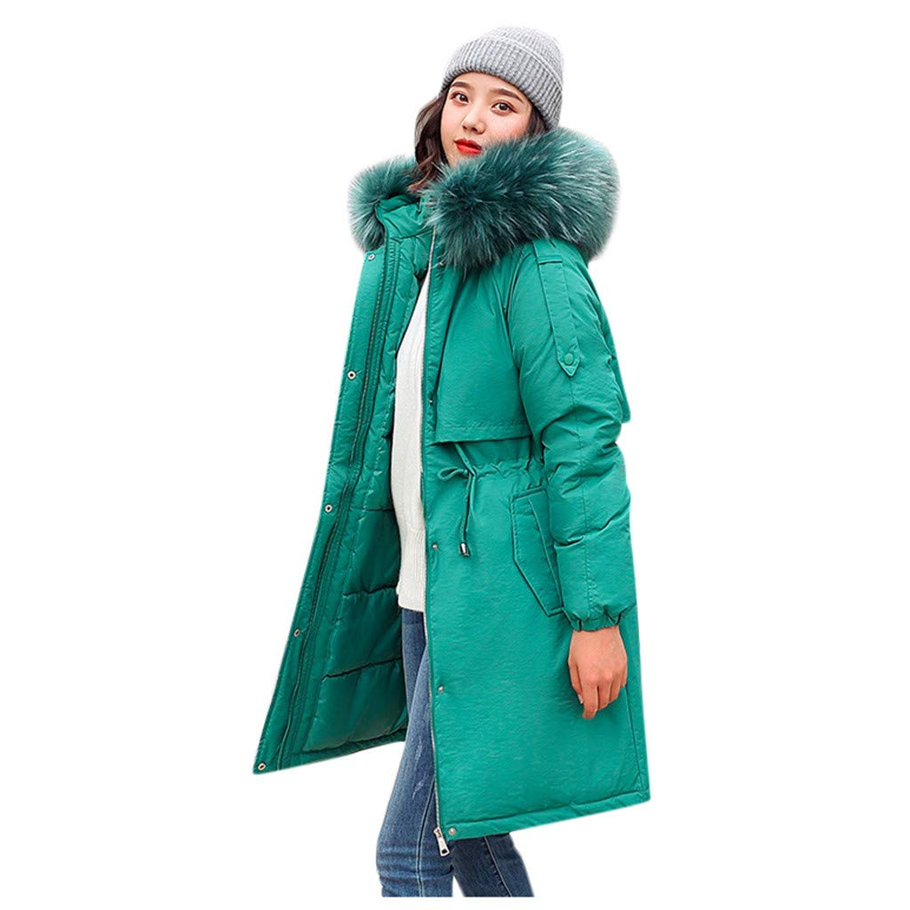 Funnygals - Women's Down Coat with Fur Hood Thicker Winter Loose Down Lammy Jacket Long Parka Puffer Jacket Green by Funnygals - Clothing