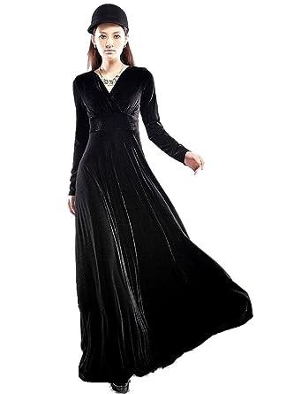 Amazon.com: Medeshe Women's Black Formal Floor Length Velvet Dress ...