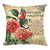 Retro Sweet Flowers Cotton Linen Decorative Throw Pillow Case Cushion Cover D