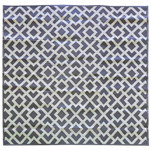 iCustomRug Inverso Outdoor Rug Collection, Reversible Plastic Area Rug 9' Square Anti Fade, Fade Resistant for Patio, Balcony or Beach in Grey and ()
