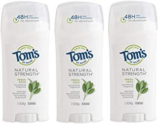 product image for Tom's of Maine Natural Strength Deodorant, Natural Deodorant, 48-Hour Odor Protection, Fresh Sage 3 Count