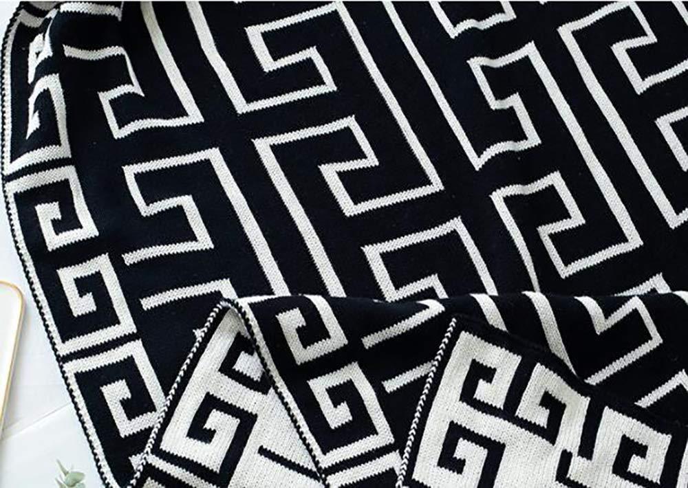 Yunyilian ニット綿兼用毛布(コットン) (Color : ブラック, サイズ : 130/160cm) B07T59C5YS ブラック 130/160cm