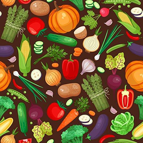 Laeacco Fruits and Vegatables Backdrop 6x6ft Vinyl Photography Background Home Decoration Wallpaper Onion Carrot Cucumber Pumpkin Corns Garlic Toamtoes Pepper Roome Decor Video Studio ()