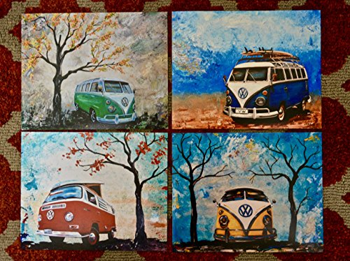 1960's to 1970's Volkswagen Bus, artist signed PHOTO PRINTS of my paintings, Set of 4 8x10's, Surfboards, VW Bus, Camper Bus, fathers day, gift, christmas, present, men, man, print ()