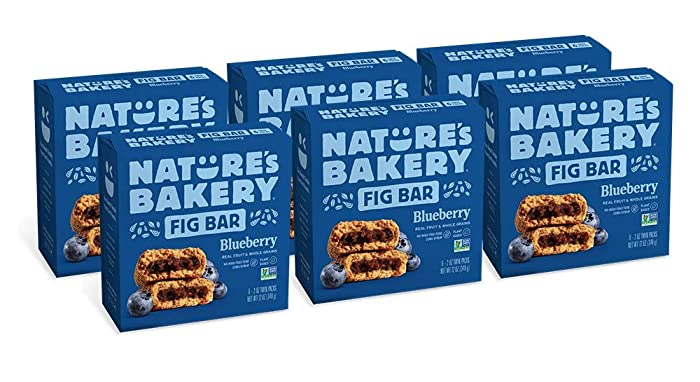 Nature's Bakery Whole Wheat Fig Bars, Blueberry, Real Fruit, Vegan, Non-GMO, Snack bar, 6 boxes with 6 twin packs (36 twin packs)