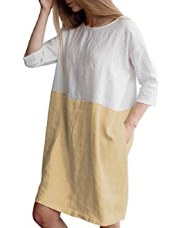 7c45ff3ced9 HIUPEB Women s Plus Size 3 4 Sleeve Loose Cotton Linen Top Shirt Dress S-