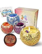 Świeca zapachowa, zestaw prezentowy, świece aromatyczne, zestaw 4 szt. Scented Candle z kwiatami, naturalny wosk sojowy, świeca w szkle, wanilia, lawenda, cytryna, rozmaryn