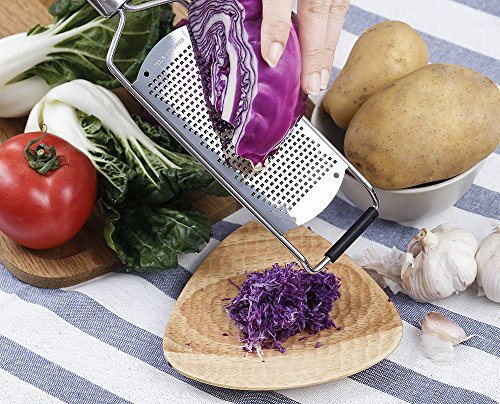 "Culina Hand-held Fine Spice Grater 12.5"". Stainless Steel. Professional-Grade Tool 7 Has a non-slip rubber grip just above its head to keep it steady on a tabletop during grating. 5"" x 2.5"" grating area . Generous size allows high performance, quick results. Blade protector to keep safe from extremely sharp blade surface Easy care instructions: Dishwasher safe. ATTENTION: wear cut-resistant gloves if hand washing or use a brush w/ warm soapy water Fine Perforations ideal for custom spices and zest"