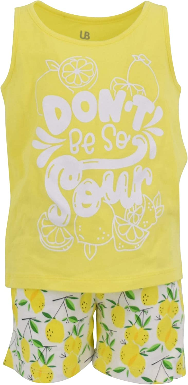 Unique Baby Boys 2 Piece Lemon Print Tank Top and Pull On Shorts Outfit