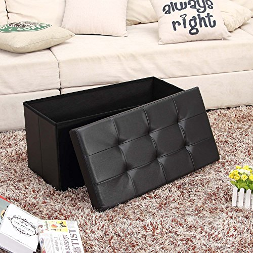 Ollieroo Faux Leather Folding Storage Ottoman Bench Foot Rest Stool Seat Black 30''X15''X15'' by Ollieroo (Image #1)'