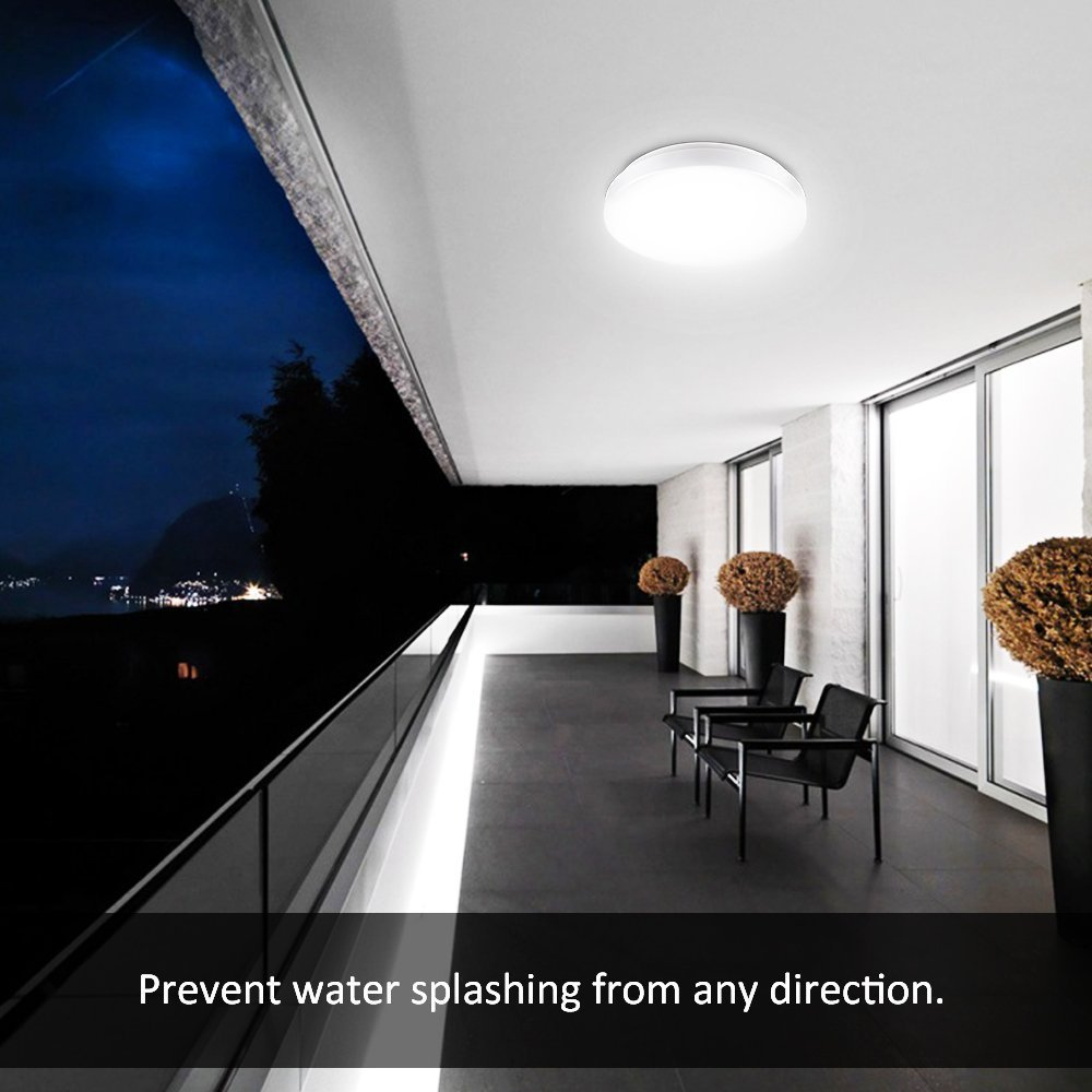 Ustellar Waterproof 12W LED Ceiling Lights, 11in, 100W Incandescent Bulbs Equivalent, IP44, 950lm, Lighting for Bathroom, Kitchen, Hallway, Flush Mount Ceiling Light, 6000K Daylight White by Ustellar (Image #5)