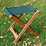 18″ x 17″ Folding Wooden Camping Stool with Forest Green Fabric Seat
