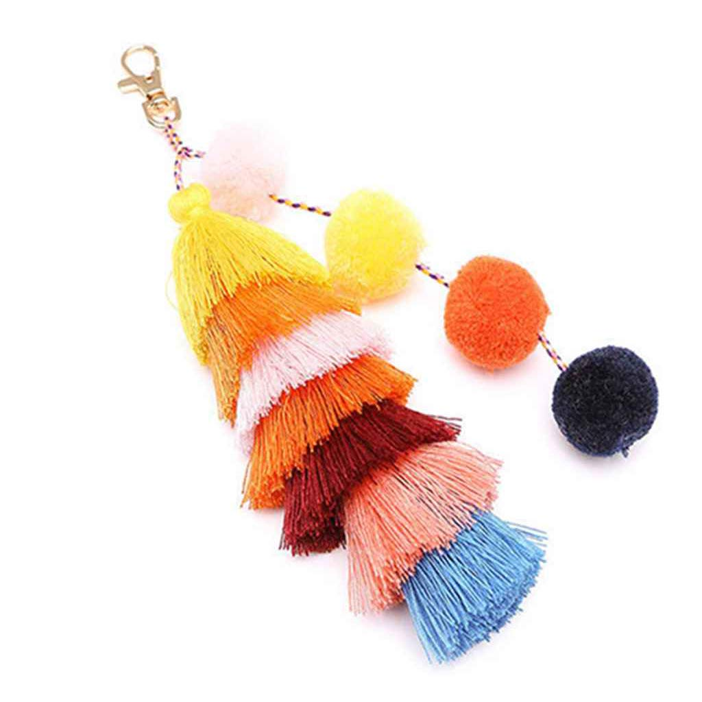 Joan Nunu Tassel Bag Pendant Charm Keychain Women Colorful Keyring Decoration 8'' KC9024